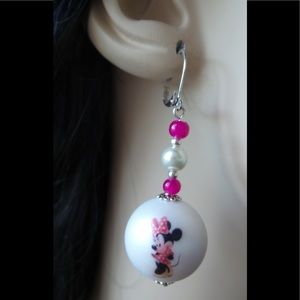 Minnie Mouse Printed Bead Lever Back Earrings (55)